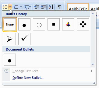 how to add small bullets in word