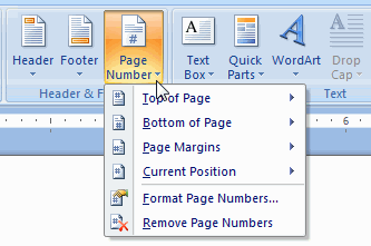 page number button menu