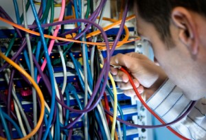 IT Technician With Server Cables